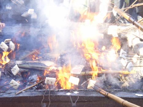 東京にも細々と残る火祭り、左義長、どんど、とんど(歳徳)、とうと(尊)焼き…。今年は、ご近所諏方神社の「どんど祭」で正月飾りをお焚き上げ、年神様をお送りします。/1/8=旧11/29・己丑