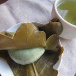 初夏のお菓子「柏餅」は味噌と草餅。そして今日は八十八夜なんで緑茶でいただく。/旧暦3/17・甲午