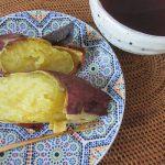 台風来襲でベランダ片付け。ホッとしたとこで、寒空眺めつつ…今年初めての焼き芋です🍠。/旧暦8/25・丁亥